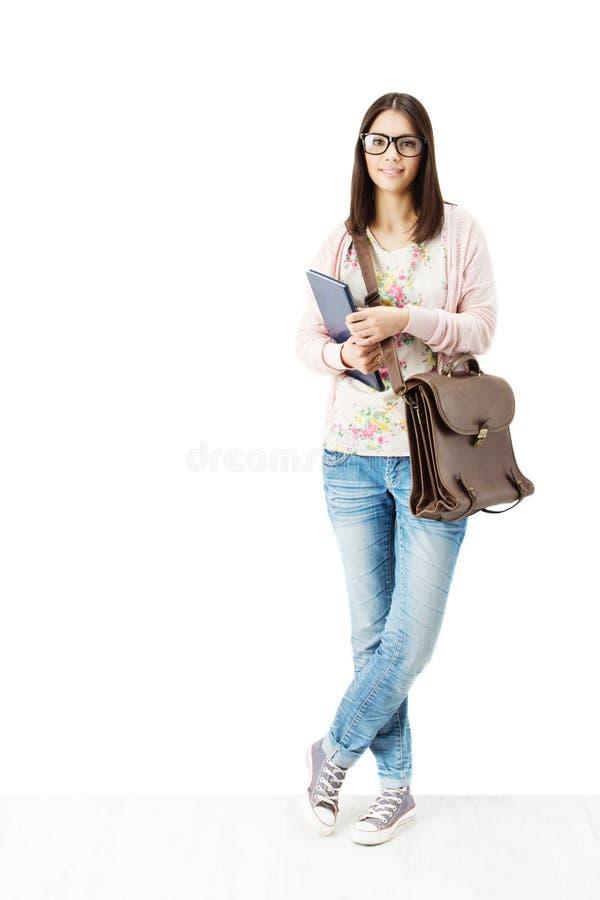 Glücklicher Student, der Buch und Schultasche hält.  lizenzfreie stockfotos