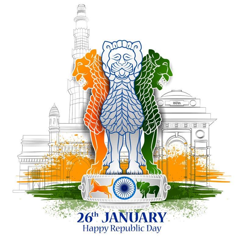 Glücklicher Tag der Republik dreifarbigen Hintergrundes Indiens für 26 lizenzfreie abbildung