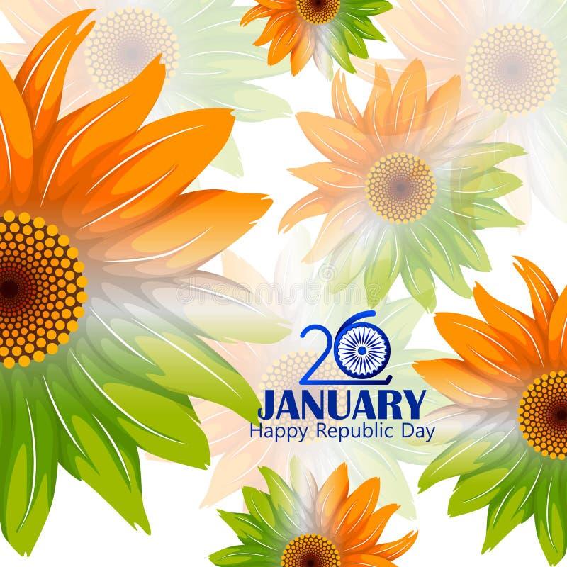 Glücklicher Tag der Republik dreifarbigen Hintergrundes Indiens für den 26. Januar vektor abbildung