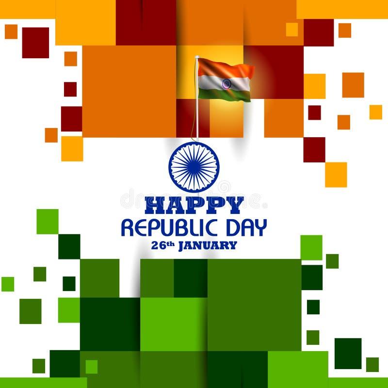 Glücklicher Tag der Republik dreifarbigen Hintergrundes Indiens für den 26. Januar lizenzfreie abbildung