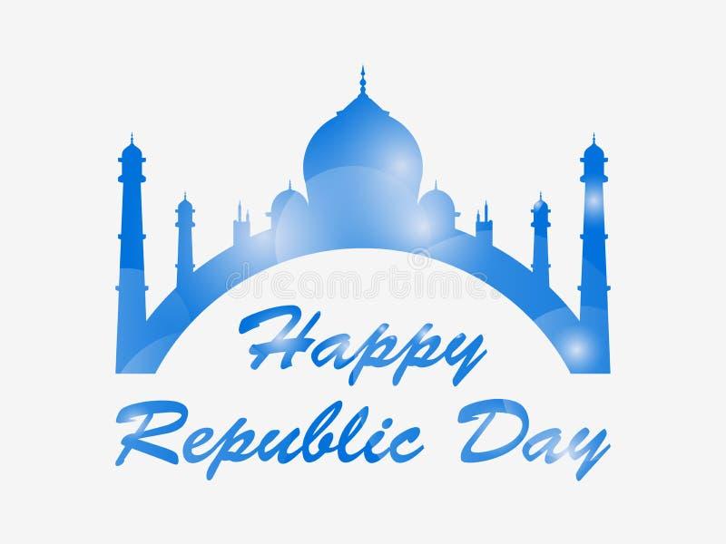 Glücklicher Tag der Republik von Indien Taj Mahal lokalisierte auf weißem Hintergrund Vektor lizenzfreie abbildung
