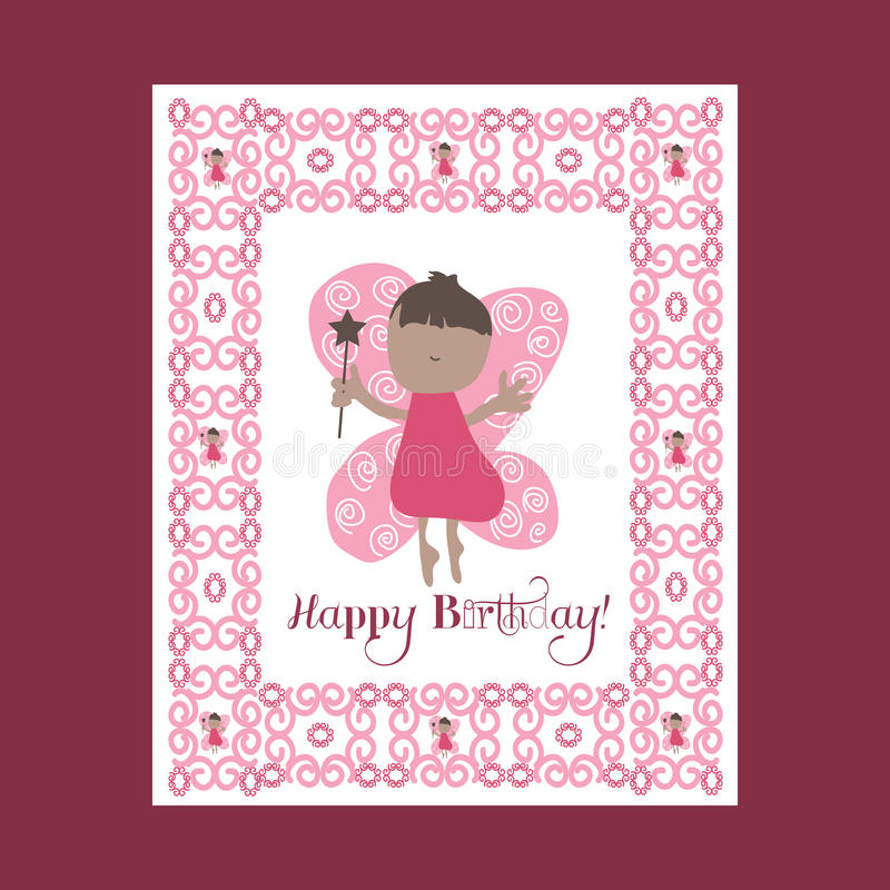 Glücklicher Tag des Mutter Selebration Karte des Mutter Tages Grußkarte, Fliegenfeen Feenrosa stock abbildung