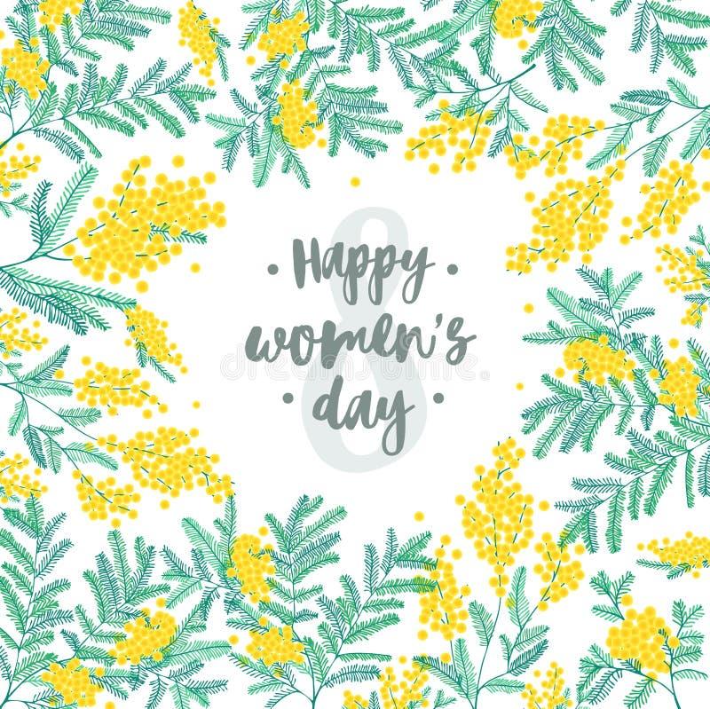 Glücklicher Tagesfestlicher Wunsch der Frauen-s gegen Tabelle acht auf dem Hintergrund, der durch schöne blühende gelbe Mimose um lizenzfreie abbildung