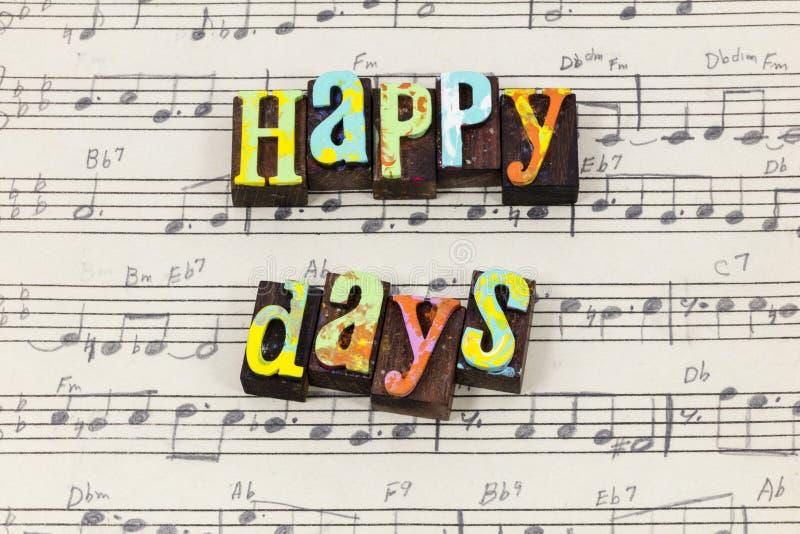 Glücklicher Tageshier wieder Tag genießen Lebenliebesmusik-Briefbeschwererart stockbilder