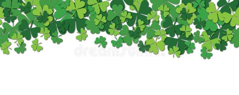 Glücklicher Tageshorizontaler nahtloser Musterhintergrund St Patrick s mit dem Shamrock lokalisiert auf Weiß lizenzfreie abbildung