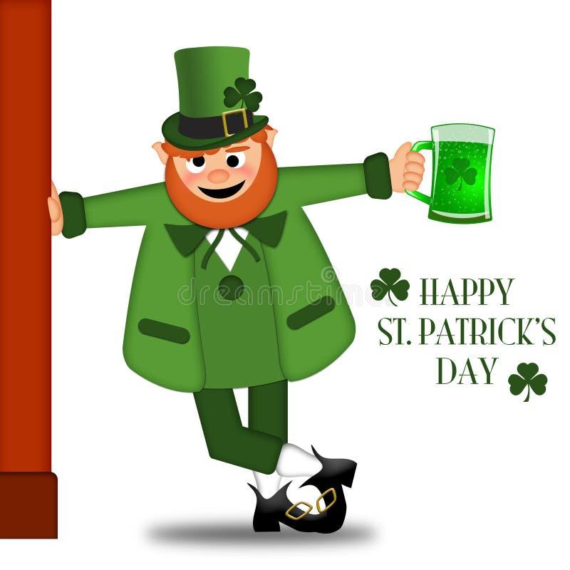 Glücklicher Tageskobold-trinkendes Bier Str.-Patricks vektor abbildung