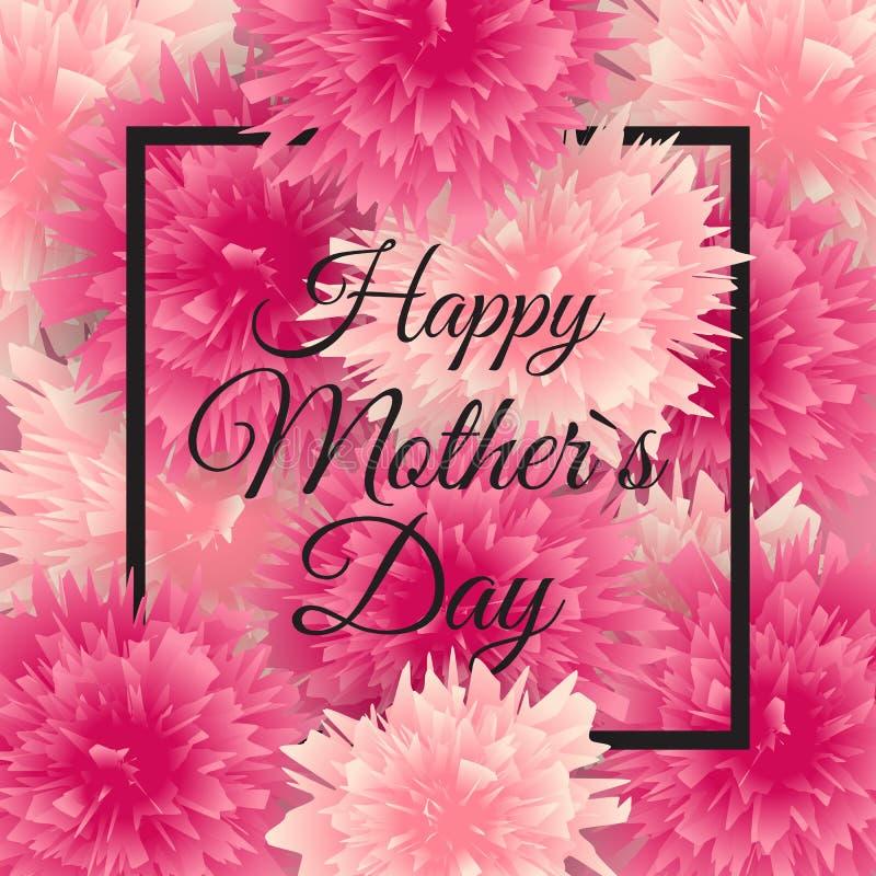 Glücklicher Tagesnetter Hintergrund der Mutter-s mit Blumen Auch im corel abgehobenen Betrag stock abbildung