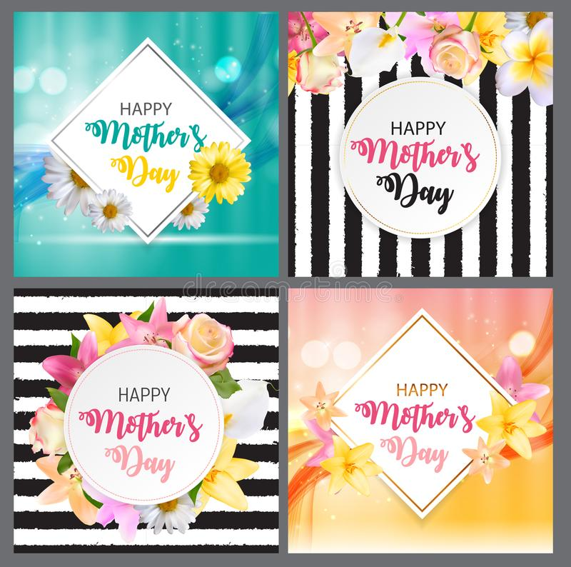 Glücklicher Tagesnetter Hintergrund der Mutter-s mit Blumen-Sammlungs-gesetzten Karten Auch im corel abgehobenen Betrag stock abbildung