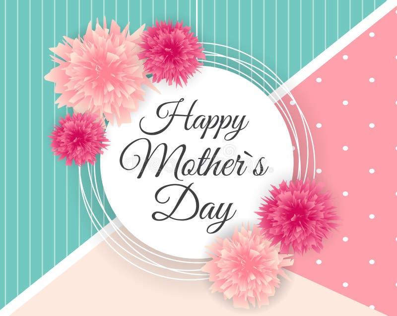 Glücklicher Tagesnetter Hintergrund der Mutter-s mit Blumen Vektor vektor abbildung