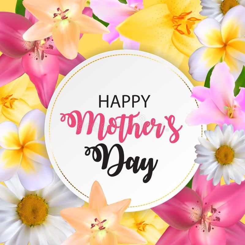 Glücklicher Tagesnetter Hintergrund der Mutter-s mit Blumen Vektor illustra stock abbildung