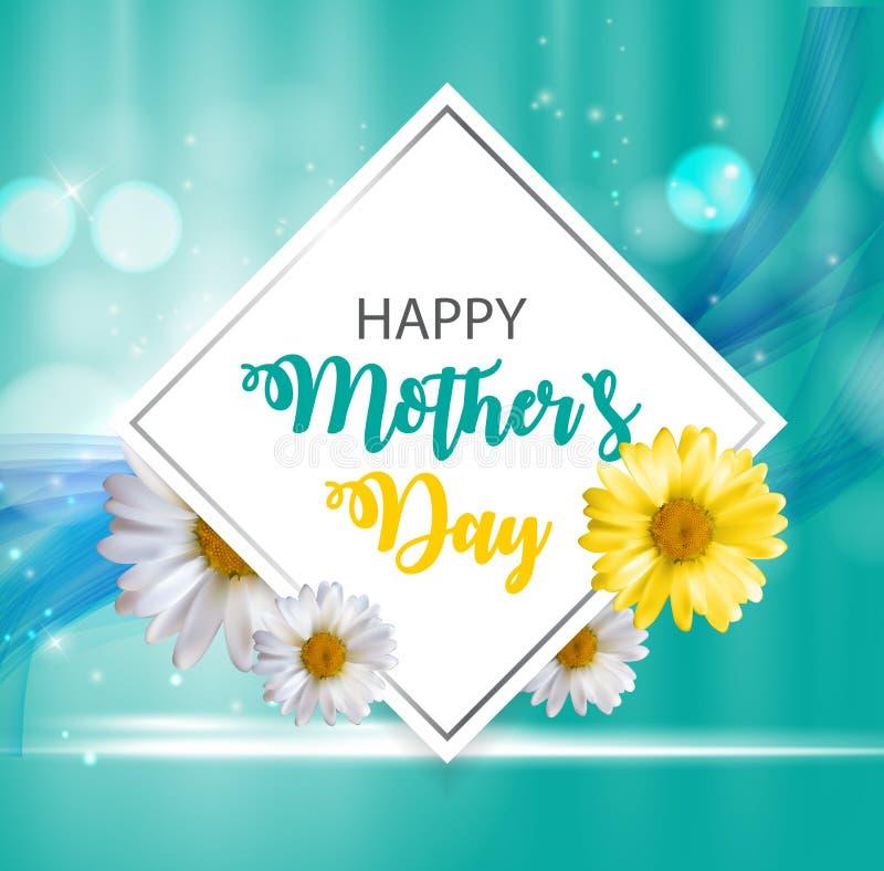 Glücklicher Tagesnetter Hintergrund der Mutter-s mit Blumen Vektor illustra vektor abbildung
