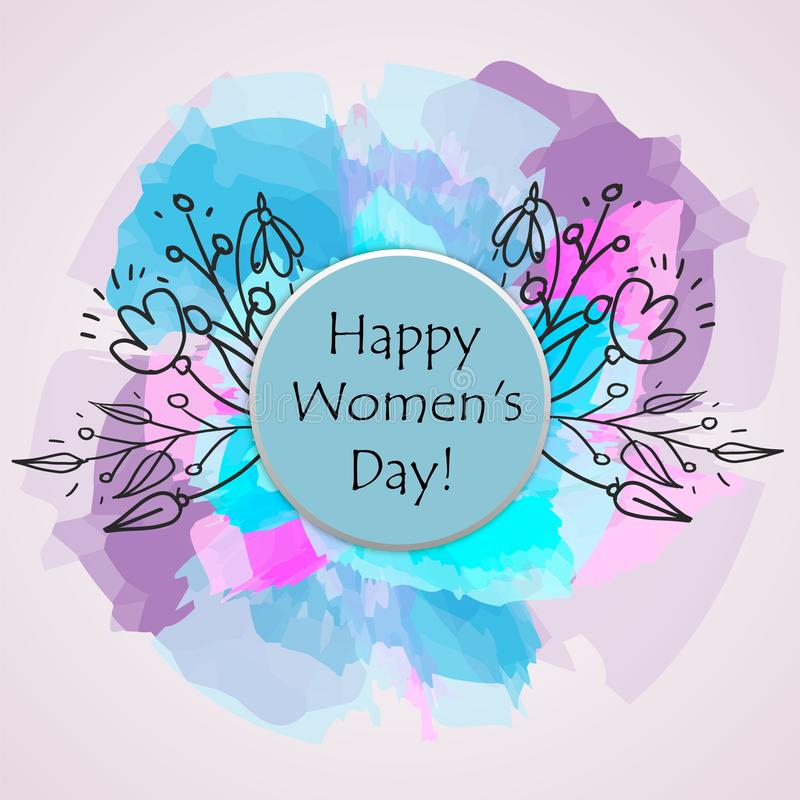 Glücklicher Tagestext der Frauen-s als Feierausweis, Tag, Ikone Textkarteneinladung, Schablone Festlichkeitshintergrund Beschrift vektor abbildung
