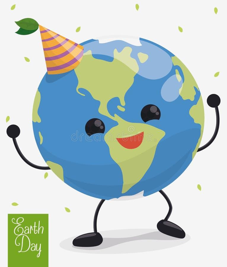Glücklicher Tanzen-Planet in der Tag der Erde-Feier, Vektor-Illustration stock abbildung