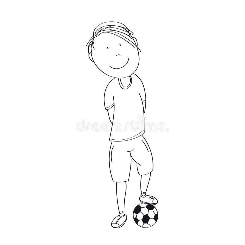 Glücklicher Teenager mit Ball, bereiten vor, um Fußball/Fußball zu spielen - O lizenzfreie abbildung