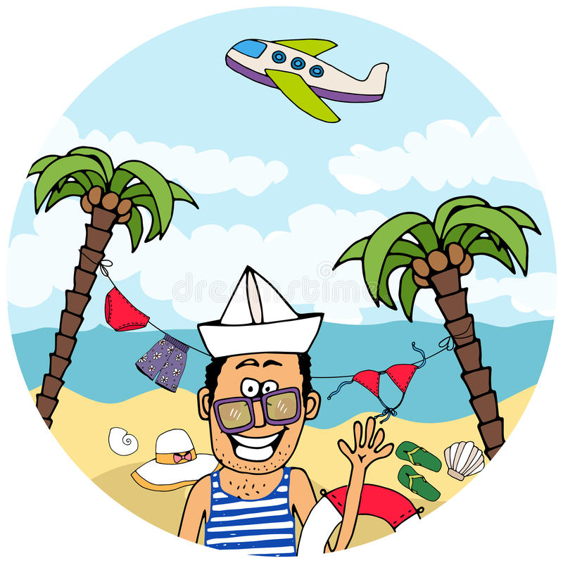 Glücklicher Tourist auf tropischen Ferien vektor abbildung