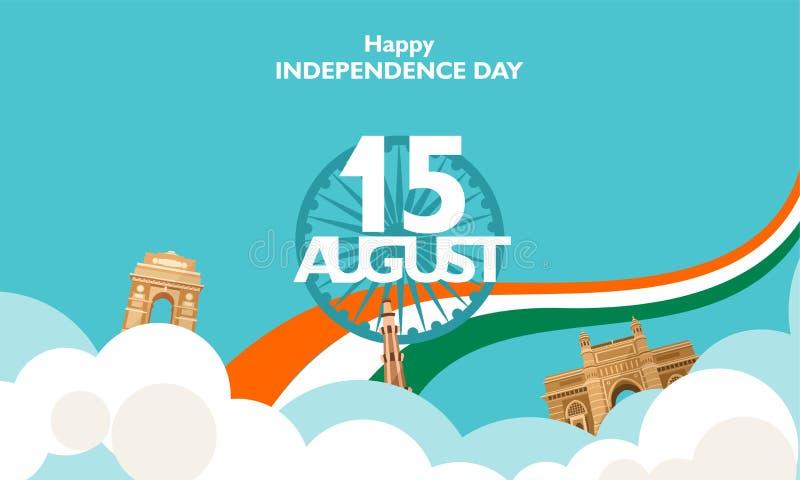 Glücklicher Unabhängigkeitstag Indien, Flieger, Plakat, Fahnenhintergrundentwurf für den 15. August lizenzfreie abbildung