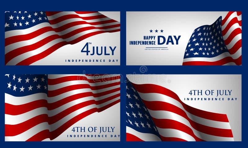 Glücklicher Unabhängigkeitstag! Satz amerikanische Fahnen für Juli 4. stock abbildung
