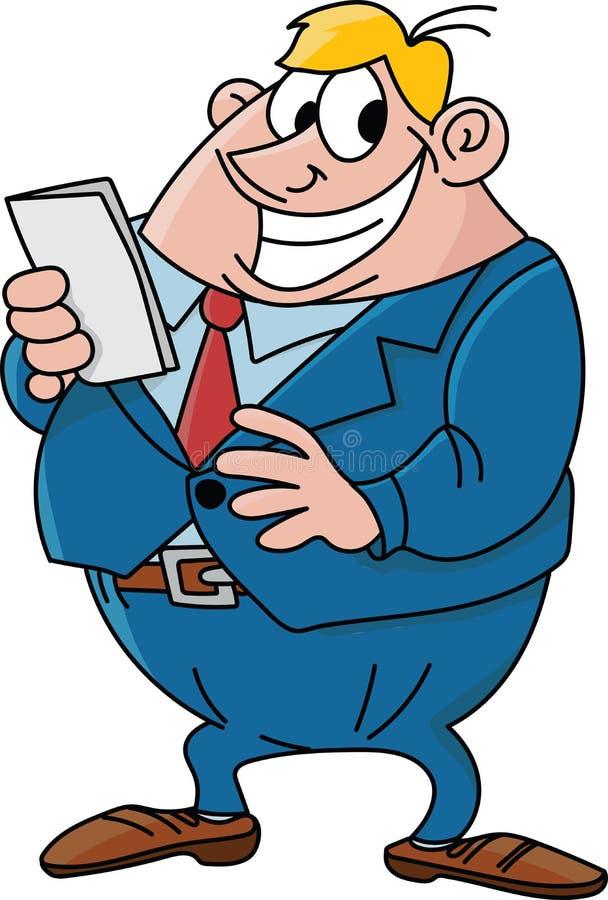 Glücklicher und überzeugter Geschäftsmann der Karikatur mit einer roten Bindung und einem blauen Anzugsvektor vektor abbildung