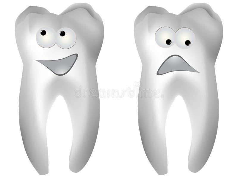 Glücklicher und trauriger weißer Zahn vektor abbildung