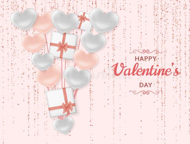Glücklicher Valentine Day-Hintergrund mit den glänzenden und glatten Herzen Rosa Pastellfunkeln und Konfettis Gruß-Karte und Lieb vektor abbildung