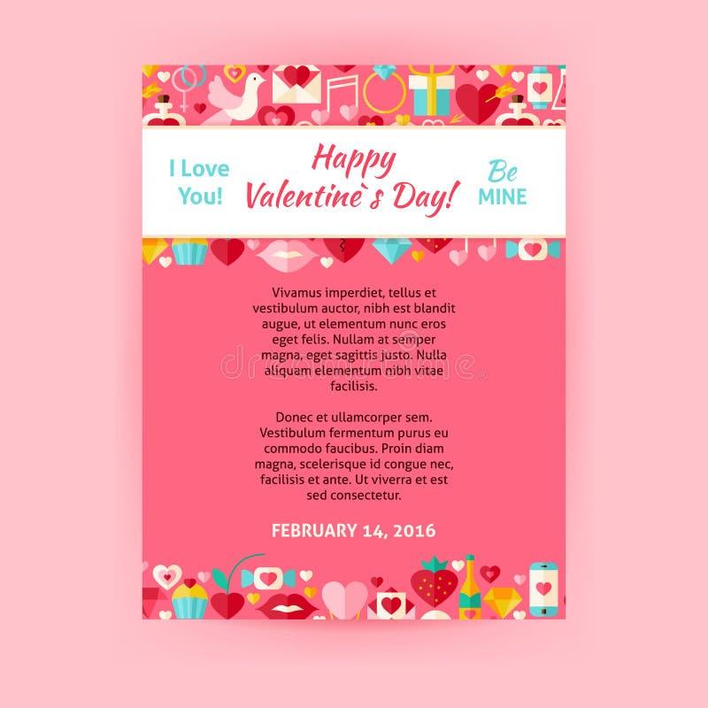 Glücklicher Valentine Day Invitation Vector Template-Flieger stock abbildung