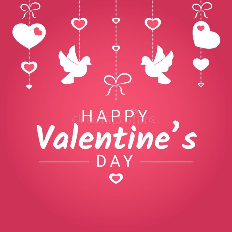 Glücklicher Valentine Day oder Heiratsglückwunschfahne mit den verschiedenen Liebessymbolen, die an den Bändern hängen vektor abbildung