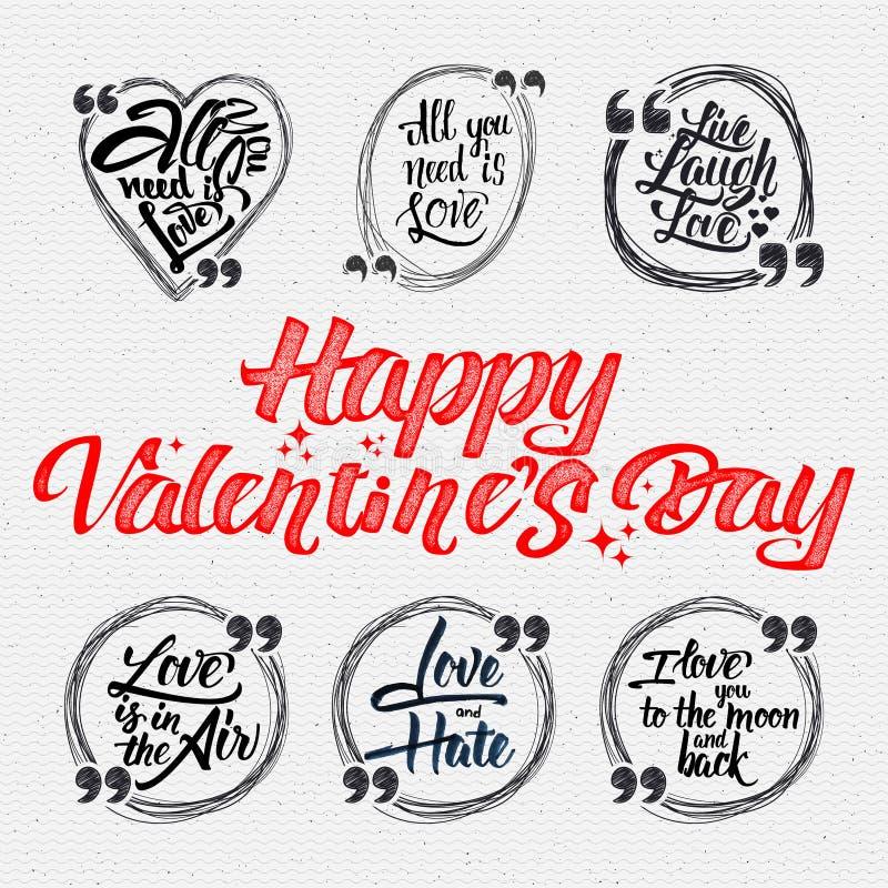 Glücklicher Valentinsgruß ist Tageskalligraphische Zitate ungefähr vektor abbildung