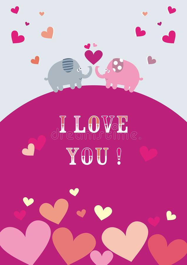 Glücklicher Valentinsgruß ` s Tag, Elefanten und Herzen, Postkarten lizenzfreie abbildung