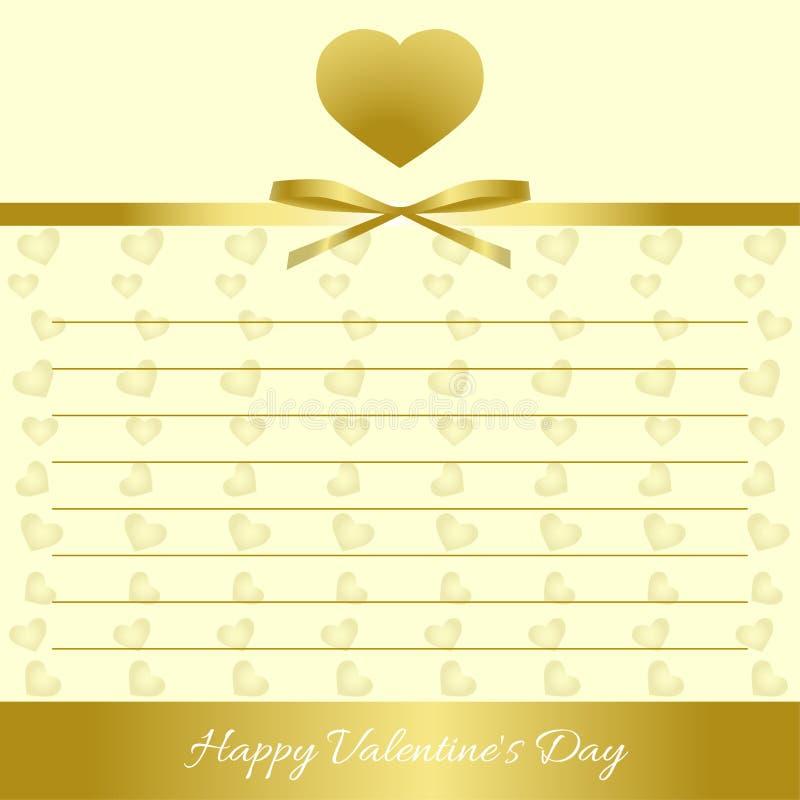 Glücklicher Valentinsgruß `s Tag Goldherzen, Goldbogen, Goldband stockfotografie