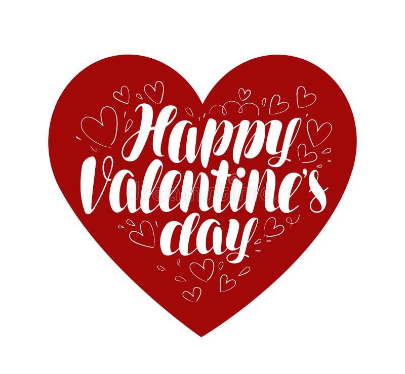 Glücklicher Valentinsgruß `s Tag Herz, Liebessymbol Typografisches Design, Vektorillustration beschriftend stock abbildung