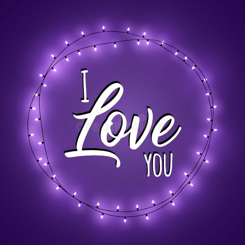 Glücklicher Valentinsgruß `s Tag Steigungs-Hintergrund mit heller Licht-Girlande Ich liebe dich Purpurrote Vektorillustration lizenzfreie abbildung