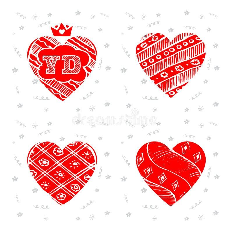 Glücklicher Valentinsgruß-Tag - Satz Grußkarten Vektor Illustratio lizenzfreie abbildung