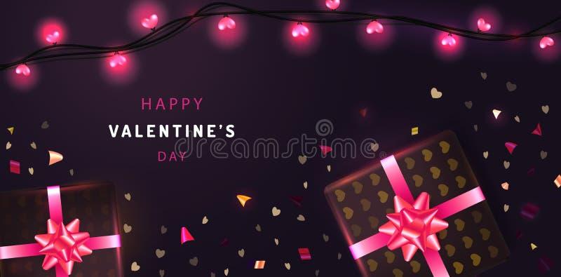 Glücklicher Valentinsgruß-Tagesfahnenhintergrund mit realistischen Geschenkboxen, Funkelnkonfettis und glühenden Girlanden Urlaub vektor abbildung