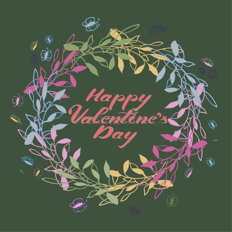Glücklicher Valentinsgruß-Tagesmehrfarbiger Kranz stockbilder