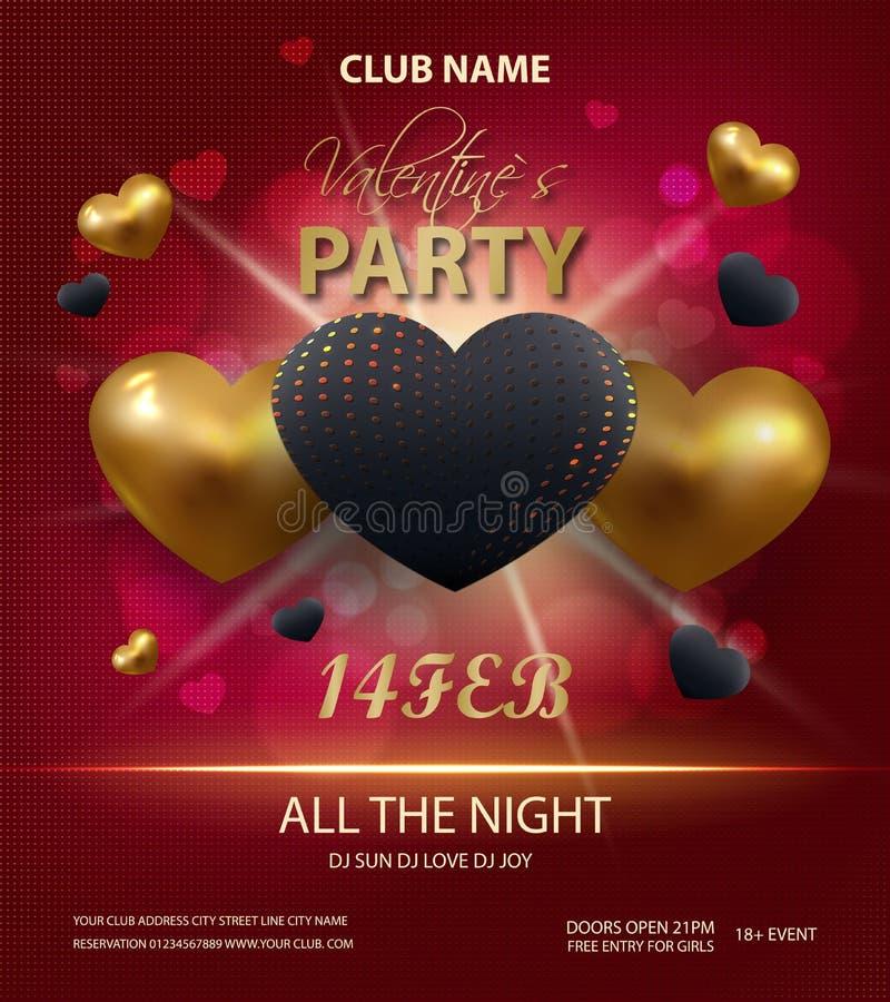 Glücklicher Valentinsgruß-Tagesparteiplakat-Schablonenentwurf Goldene und schwarze Herzen 3d auf rotem Hintergrund Typografieflie vektor abbildung