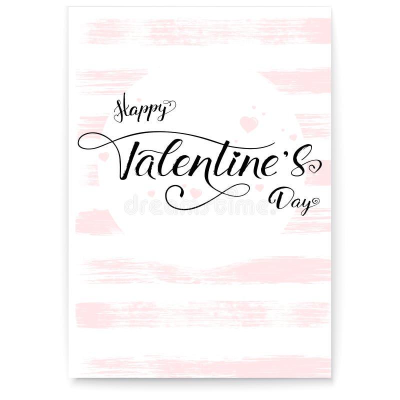 Glücklicher Valentinsgrußtag Abdeckung, Grußplakat in der rosa Farbe Kalligraphie in der Weinlese, Hippie-Art Von Hand gezeichnet lizenzfreie abbildung