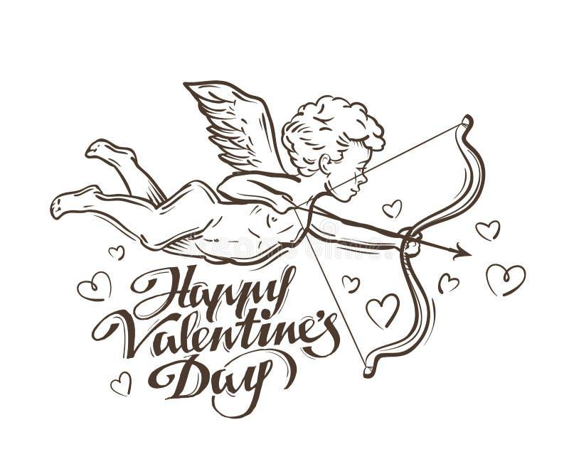 Glücklicher Valentinsgrußtag Fliegenamor Auch im corel abgehobenen Betrag vektor abbildung
