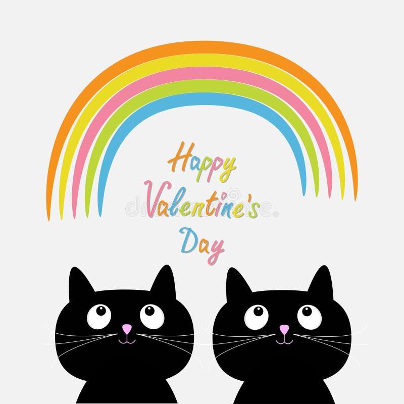 Glücklicher Valentinsgrußtag Grunge Papierhintergrund Regenbogen und rosa Herz regnen mit zwei netten Karikaturkatzen Flache Desi stock abbildung