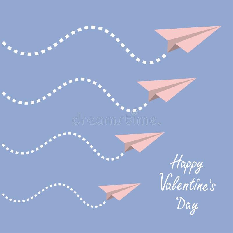 Glücklicher Valentinsgrußtag Grunge Papierhintergrund Vier Origami tapeziert Flächensatz Strichlinie im Himmel Flaches Design Ruh lizenzfreie abbildung