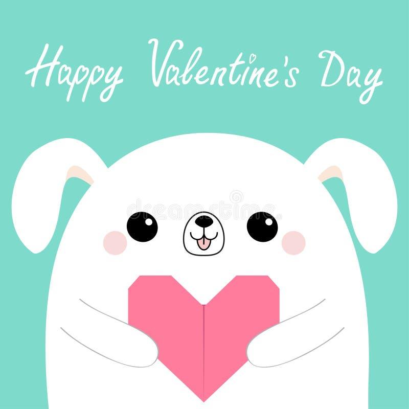 Glücklicher Valentinsgrußtag Hauptgesicht des weißen Hundewelpen, das rosa Origamipapierherz hält Tiercharakter netten Karikatur  lizenzfreie abbildung