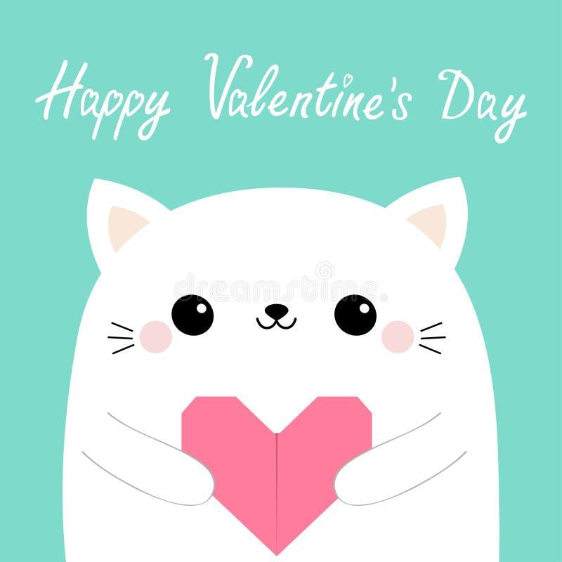 Glücklicher Valentinsgrußtag Hauptgesicht des weißen Katzenkätzchens, das rosa Origamipapierherz hält Nettes Karikatur kawaii lus vektor abbildung
