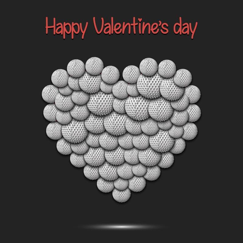 Glücklicher Valentinsgrußtag Herz von den Golfbällen stock abbildung