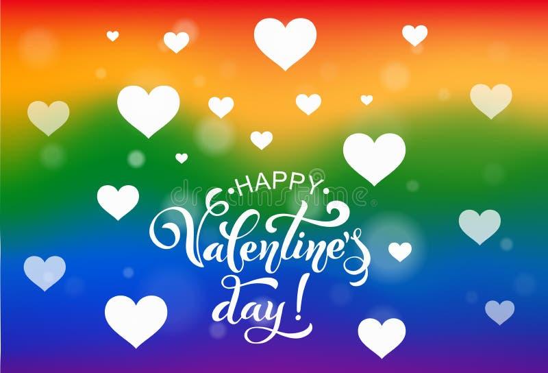 Glücklicher Valentinsgrußtag LGBT Retro- Abbildung der Weinlese style Bürsten-Beschriftung Herz vieler Herzen Logos und Embleme f vektor abbildung