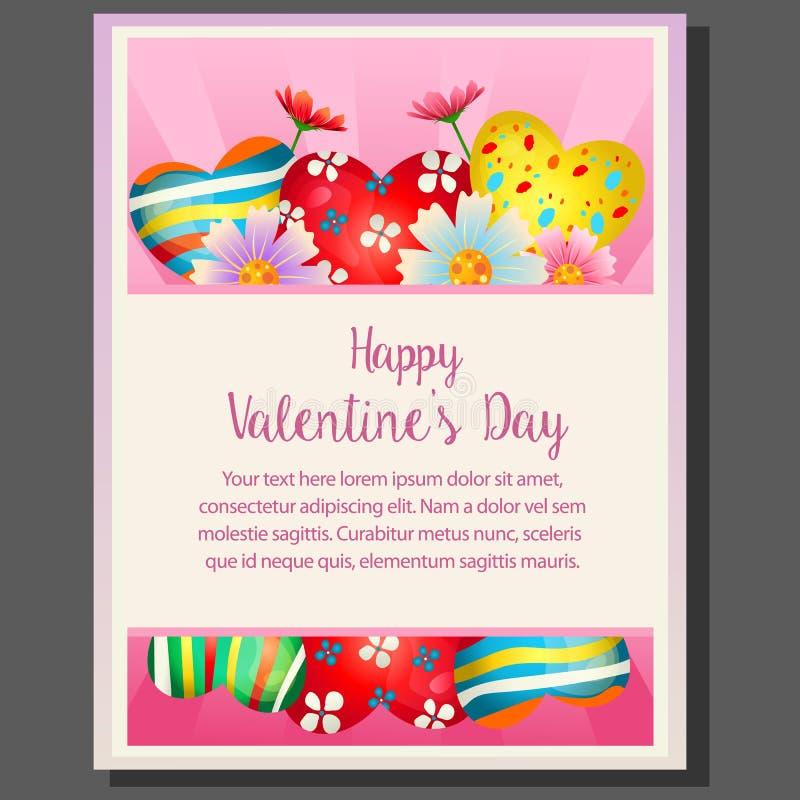Glücklicher Valentinsgrußtag mit bunter Herzgeleesüßigkeit stock abbildung