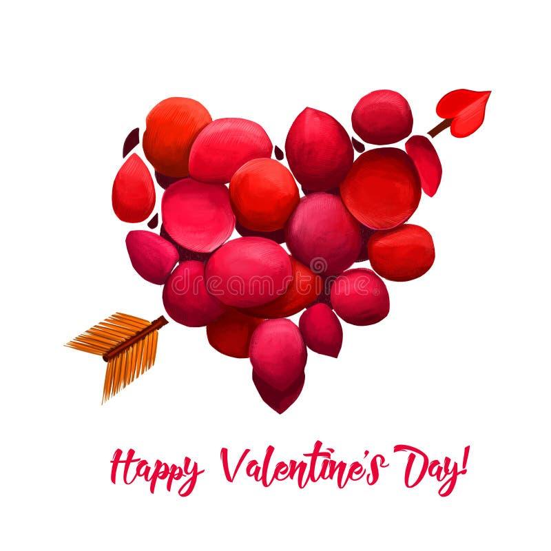 Glücklicher Valentinsgrußtag Unterbrochenes Inneres Herz gemacht von den roten Stücken mit Pfeil Romantisches Feiertagsplakat, Gr stock abbildung