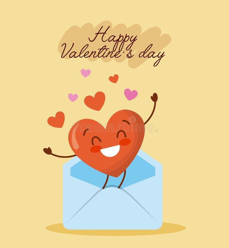 Glücklicher Valentinsgrußtagesmitteilungsumschlag mit Liebesherzkarikatur lizenzfreie abbildung
