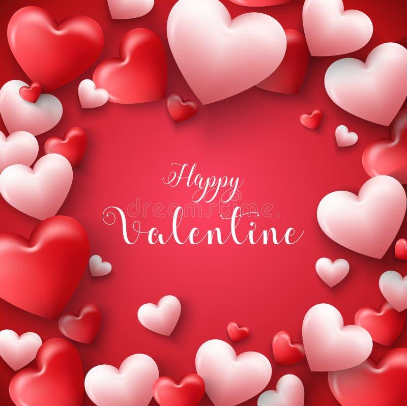 Glücklicher Valentinsgrußtagesrahmenhintergrund mit Herzen steigen im roten Hintergrund im Ballon auf vektor abbildung