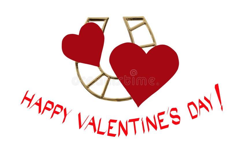Download Glücklicher Valentinstag! Zwei Herzen Und Goldenes Hufeisen Für  Guten Lu Stockfoto   Bild: