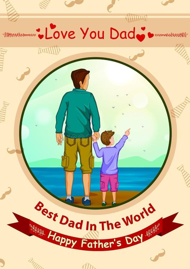 Glücklicher Vater ` s Tagesgrußhintergrund lizenzfreie abbildung