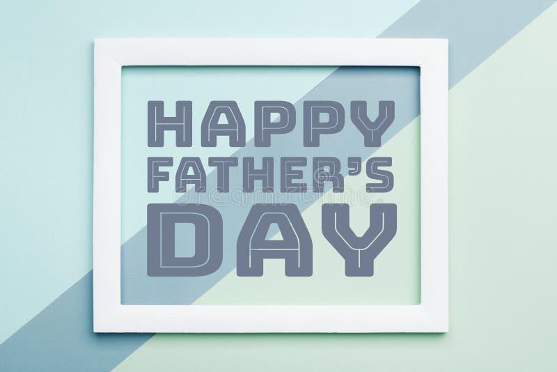 Glücklicher Vater ` s Tagpastellsüßigkeit färbt Hintergrund Flache Lageminimalismus Vatertags-Grußkarte stock abbildung